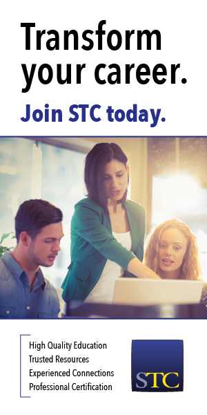 image of professional woman pointing to computer screen while 2 people look on text stating Transform your Career. Join STC Today.