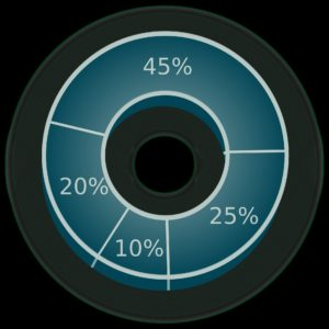 Circular pie chart with sections labeled as 45 percent, 20 percent, 10 percent, and 25 percent